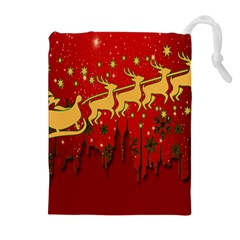 Santa Christmas Claus Winter Drawstring Pouches (extra Large) by Nexatart