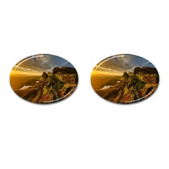 Scotland Landscape Scenic Mountains Cufflinks (oval) by Nexatart