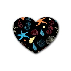 Seahorse Starfish Seashell Shell Heart Coaster (4 Pack)