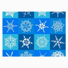 Seamless Blue Snowflake Pattern Large Glasses Cloth (2 Side) by Nexatart