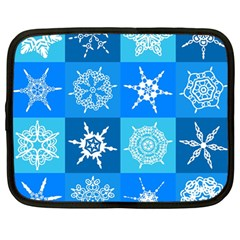Seamless Blue Snowflake Pattern Netbook Case (large)