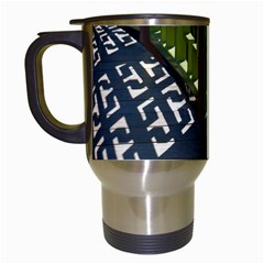 Shadow Reflections Casting From Japanese Garden Fence Travel Mugs (white) by Nexatart