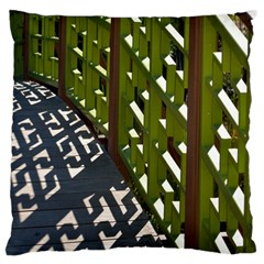 Shadow Reflections Casting From Japanese Garden Fence Large Cushion Case (one Side)