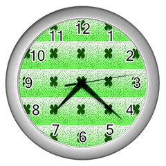 Shamrock Pattern Wall Clocks (silver)  by Nexatart