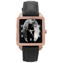 Silhouette Of Lovers Rose Gold Leather Watch