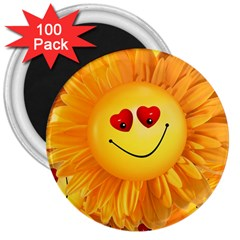 Smiley Joy Heart Love Smile 3  Magnets (100 Pack) by Nexatart