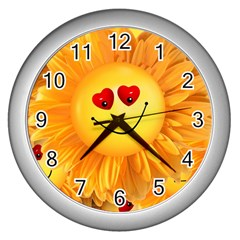 Smiley Joy Heart Love Smile Wall Clocks (silver)  by Nexatart