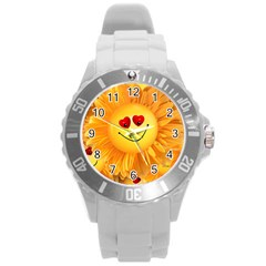 Smiley Joy Heart Love Smile Round Plastic Sport Watch (l) by Nexatart