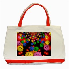 Smiley Laugh Funny Cheerful Classic Tote Bag (red) by Nexatart