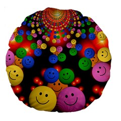 Smiley Laugh Funny Cheerful Large 18  Premium Round Cushions by Nexatart