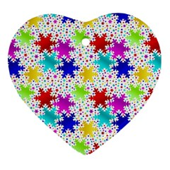 Snowflake Pattern Repeated Heart Ornament (two Sides) by Nexatart