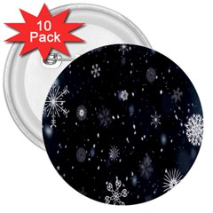 Snowflake Snow Snowing Winter Cold 3  Buttons (10 Pack)  by Nexatart