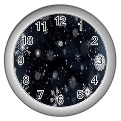 Snowflake Snow Snowing Winter Cold Wall Clocks (silver)  by Nexatart