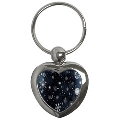 Snowflake Snow Snowing Winter Cold Key Chains (heart)  by Nexatart