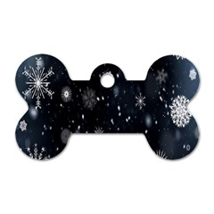 Snowflake Snow Snowing Winter Cold Dog Tag Bone (two Sides) by Nexatart