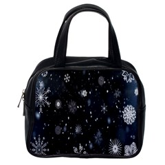 Snowflake Snow Snowing Winter Cold Classic Handbags (one Side) by Nexatart