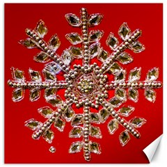 Snowflake Jeweled Canvas 16  X 16