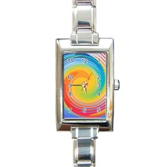 Rainbow Swirl Rectangle Italian Charm Watch