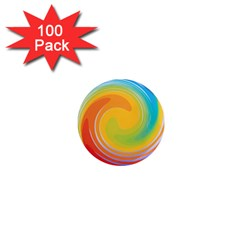 Rainbow Swirl 1  Mini Magnets (100 Pack)