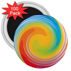 Rainbow Swirl 3  Magnets (100 Pack)