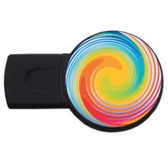 Rainbow Swirl Usb Flash Drive Round (4 Gb)