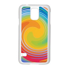 Rainbow Swirl Samsung Galaxy S5 Case (white) by OneStopGiftShop