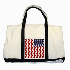 American Flag Two Tone Tote Bag by OneStopGiftShop