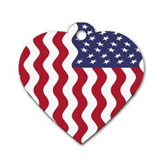 American Flag Dog Tag Heart (one Side) by OneStopGiftShop