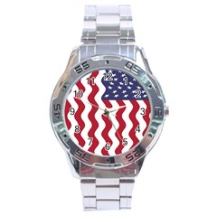 American Flag Stainless Steel Analogue Watch by OneStopGiftShop