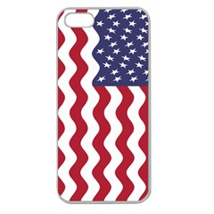 American Flag Apple Seamless Iphone 5 Case (clear) by OneStopGiftShop