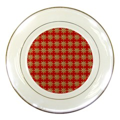 Snowflakes Square Red Background Porcelain Plates