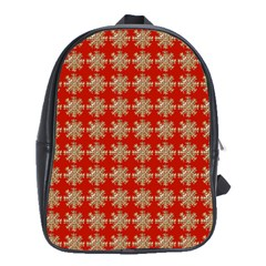 Snowflakes Square Red Background School Bags(large)