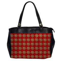 Snowflakes Square Red Background Office Handbags by Nexatart