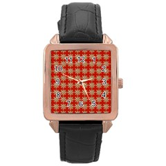 Snowflakes Square Red Background Rose Gold Leather Watch