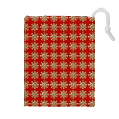 Snowflakes Square Red Background Drawstring Pouches (extra Large)