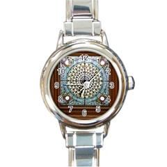 Stained Glass Window Library Of Congress Round Italian Charm Watch by Nexatart