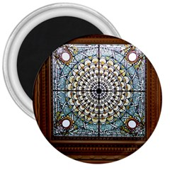 Stained Glass Window Library Of Congress 3  Magnets by Nexatart