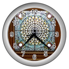 Stained Glass Window Library Of Congress Wall Clocks (silver)
