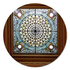 Stained Glass Window Library Of Congress Magnet 5  (round) by Nexatart