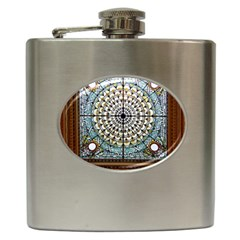 Stained Glass Window Library Of Congress Hip Flask (6 Oz) by Nexatart