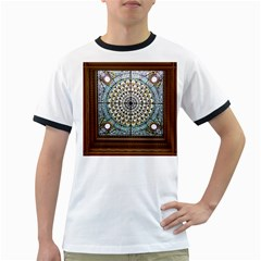 Stained Glass Window Library Of Congress Ringer T Shirts by Nexatart