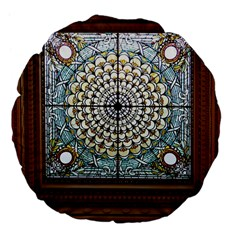 Stained Glass Window Library Of Congress Large 18  Premium Flano Round Cushions