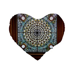Stained Glass Window Library Of Congress Standard 16  Premium Flano Heart Shape Cushions by Nexatart