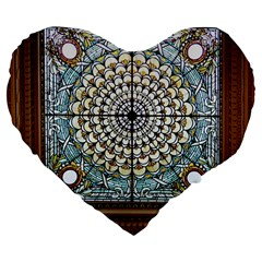 Stained Glass Window Library Of Congress Large 19  Premium Flano Heart Shape Cushions by Nexatart