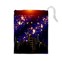 Star Advent Christmas Eve Christmas Drawstring Pouches (large)  by Nexatart