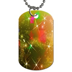 Star Christmas Background Image Red Dog Tag (one Side)