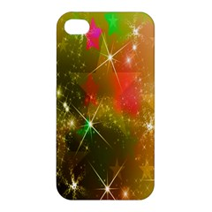 Star Christmas Background Image Red Apple Iphone 4/4s Premium Hardshell Case