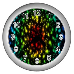 Star Christmas Curtain Abstract Wall Clocks (silver)  by Nexatart