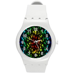 Star Christmas Curtain Abstract Round Plastic Sport Watch (m)