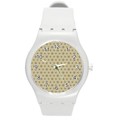 Star Basket Pattern Basket Pattern Round Plastic Sport Watch (m)
